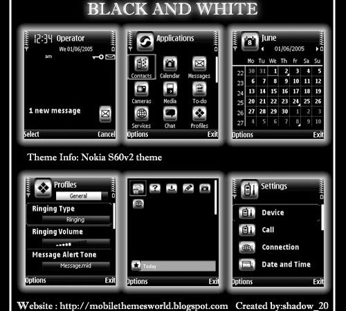 Nokia N70,N72 theme Black and White