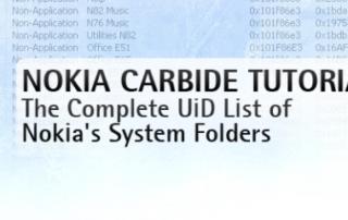 UID List of Nokia's System Folders