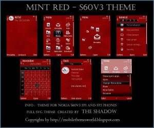 Mint Red Nokia S60v3 Premium Theme By TheShadow
