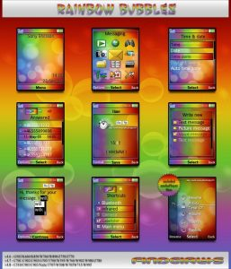 sony ericsson theme rainbow bubbles