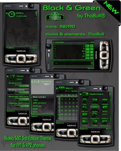green and black s60v3 fp1 and fp2 phone theme