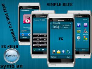 simple blue symbian3 phone theme