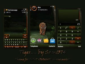 wild animal symbian 5th mobile theme tiger