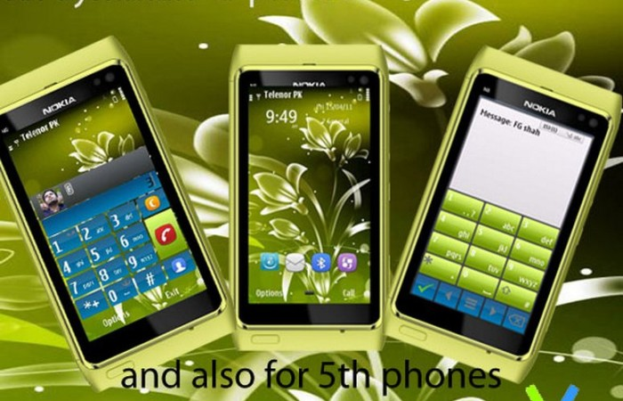 green symbian^3 mobile theme