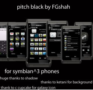 pitch black nokia n8, e7 mobile theme by fgshah
