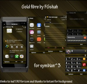 Gold Fiber themes for symbian3 mobiles