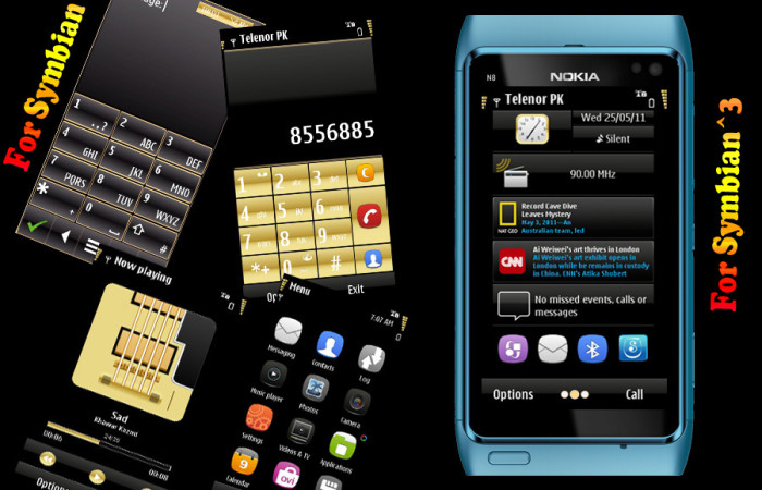gold symbian3 mobile theme by khawar