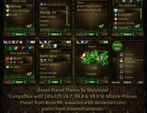 Green Planet Sony ericsson theme with wallpapers by Malytopol