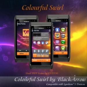 colorful swirl nokia n8 theme by blackarrow