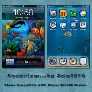 aquarium mobile theme for iphone by sam