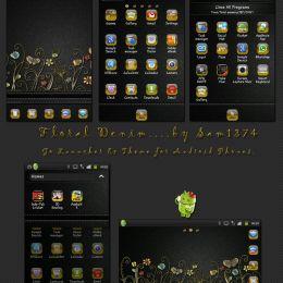 Golauncher theme Floral denim android theme