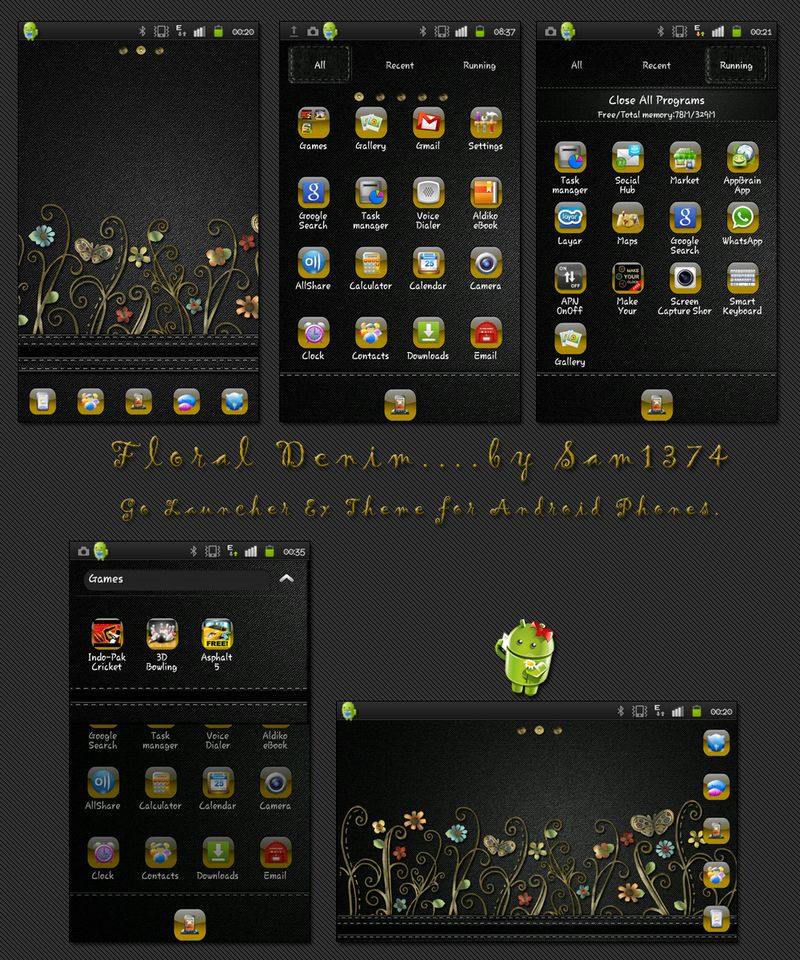Golauncher theme Floral denim android theme