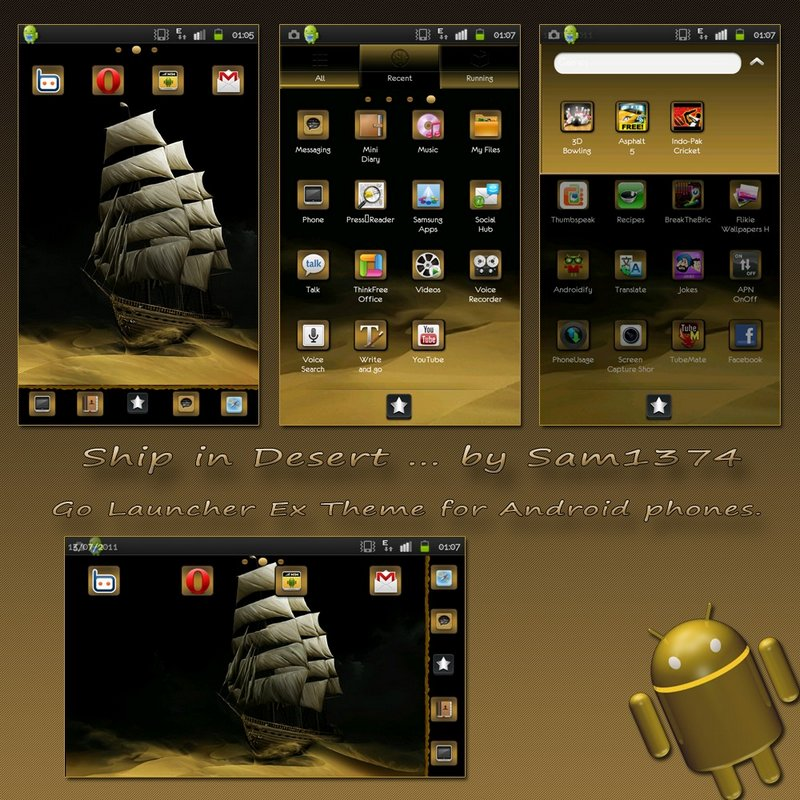 Ship in desert android themes