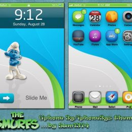 Free iphone theme smurfs by Sam1374