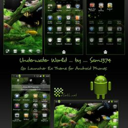 Underwater world mobile theme with glass icons