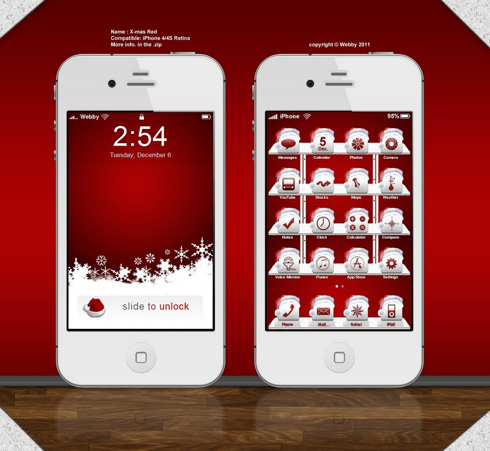 xmas red iphone theme by webby