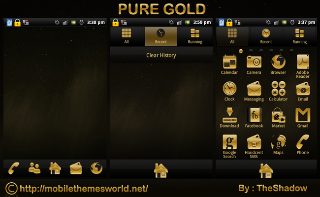 Pure Gold Go Launcher EX Android Phone Theme by TheShadow