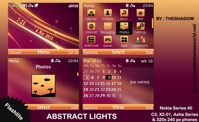 Abstract light theme by theshadow for nokia c3, asha phones