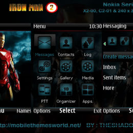 Ironman 2 movie theme for c2-01, x2-00 240 x 320px Theme by TheShadow