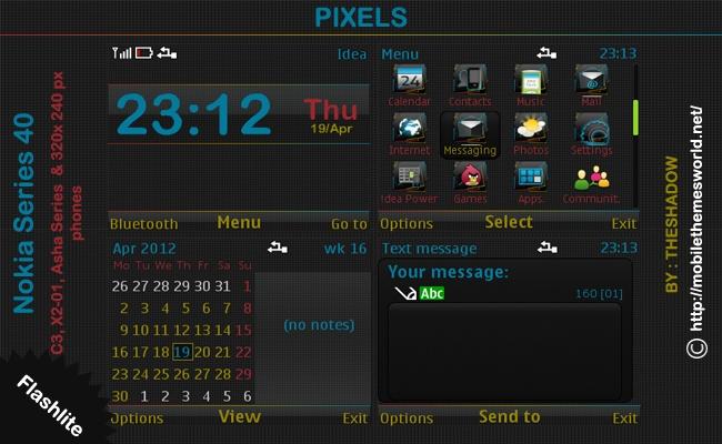 Dark pixel theme for nokia asha, c3, x2-01 by theshadow