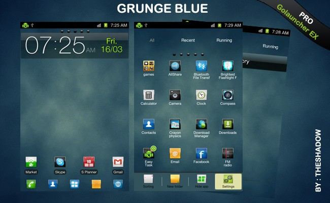 Go launcher Ex theme Grunge Blue Pro Android Theme by TheShadow