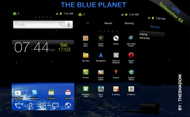 The Blue planet Lite Golauncher Ex Android theme by TheShadow