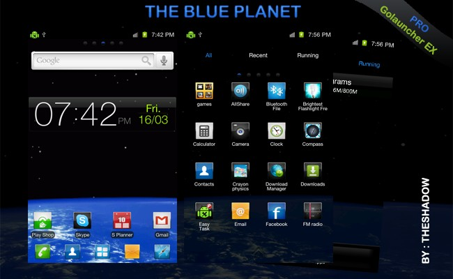 The Blue Planet Pro Go Launcher Android Theme by TheShadow