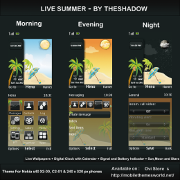 Summer Live theme for nokia 240 x 320 px s40 phone c2-01, x2