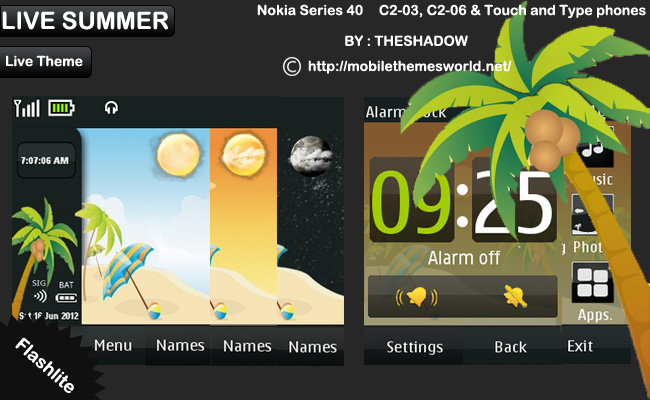 Live Summer theme for Nokia Asha 300, C2-03 &amp; C2-06, X3-02 phones