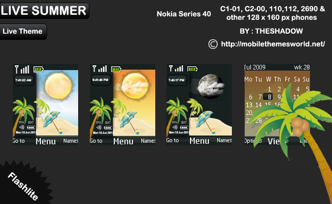 Live Summer theme for Nokia C1-01, C2-00, 110,112, 2690 & 128 x 160 px phones
