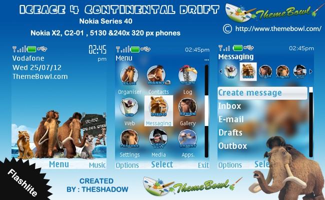 Ice Age 4 Continental Drift theme for Nokia 5130, C2-01, X2-00 and 240 x 320 px phones