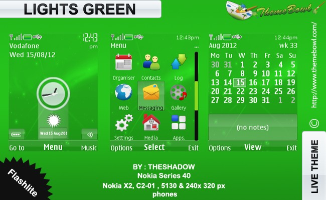 theshadow themesLights Green theme for Nokia 5130, C2-01, X2-00 and 240 x 320 px phones