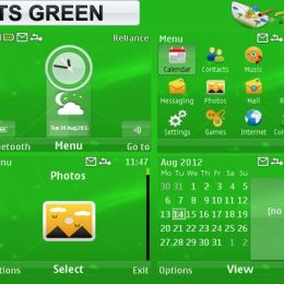 theshadow themes Lights Green theme for Nokia C3, X2-01 & Asha 200, 201, 302 phones