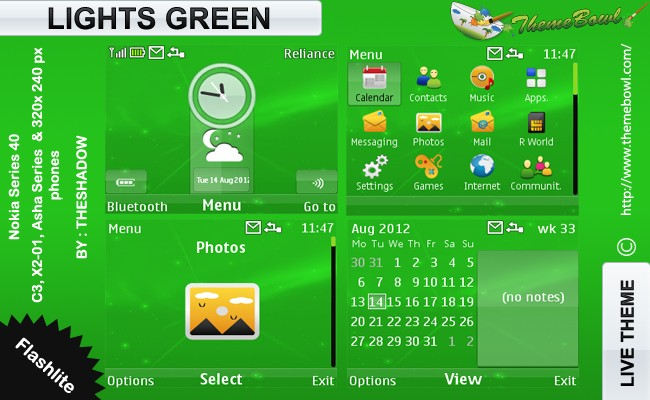 theshadow themes Lights Green theme for Nokia C3, X2-01 &amp; Asha 200, 201, 302 phones