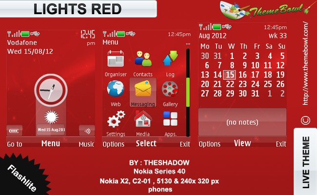 Lights Red nokia theme