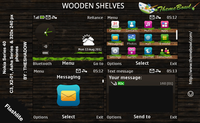 Wooden Shelves theme for Nokia C3, X2-01 & Asha 200, 201, 302 phones