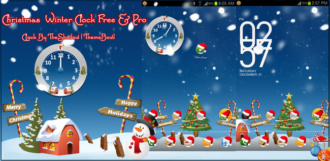 Christmas Clock free and pro clock preview themebowl Christmas Winter Holidays Free and Paid Live Analog Clock Android App by TheShadow
