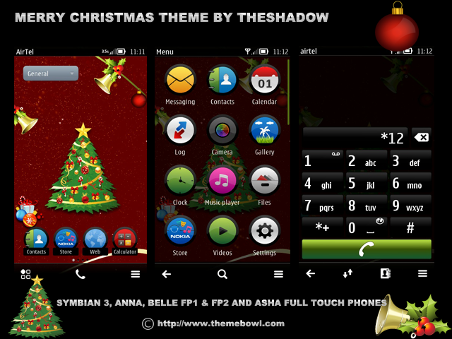 Merry Christmas Symbian Belle Anna Fp1 and fp2 s3 and asha full touch phone theme by theshadow Merry Christmas Nokia Asha Full Touch,Symbian3,Anna,Belle FP1 and Fp2 Theme by TheShadow