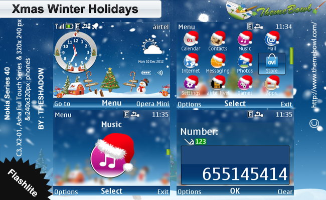 Xmas Winter Holidays Nokia Theme by TheShadow Xmas Winter Holidays Nokia Series40 240x320px, 320x240 px (C3,X2 01) and Asha Full Touch Phone Theme