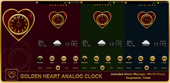 Golden Heart Valentine's Android Clock Widget By TheShadow