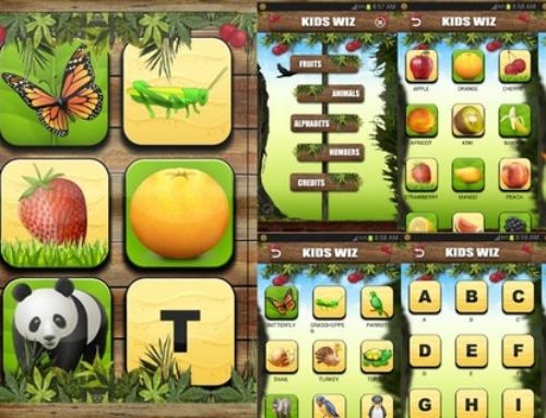 Kids Wiz: app for Children animal names, fruit names, 123 and a to z free android app by TheShadow