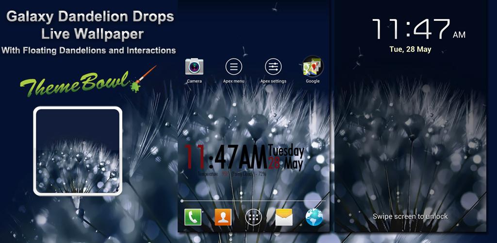 Galaxy Dandelion Drops Live Wallpaper Preview Homepage