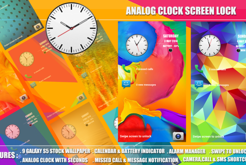 Galaxy S5 Analog Clock Screen Lock android