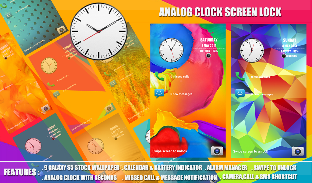 analog clock screen lock samsung galaxy s5 theme