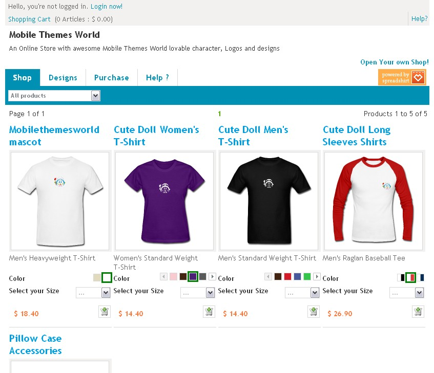 New Mobile Themes World Shop