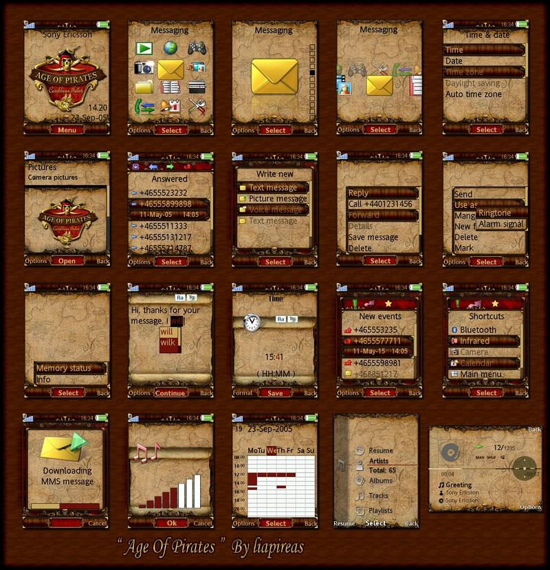 age of pirates sony ericsson red and gold theme