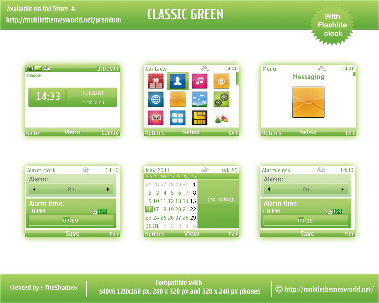 Symbian nokia s40 theme classic greeen by theshadow