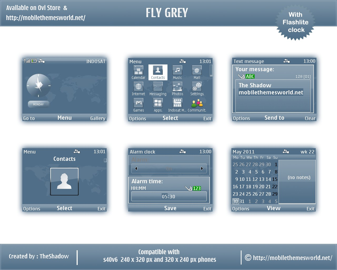 Fly Grey Nokia S40 6th Edition theme by TheShadow