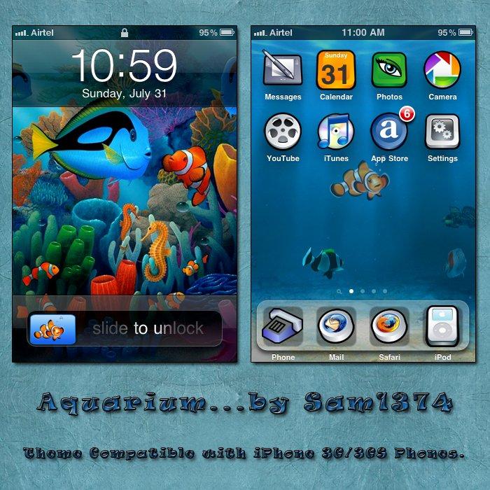 aquarium mobile theme for iphone by sam