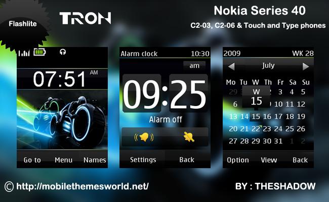 Tron theme for Nokia C2-03 & C2-06, X3-02